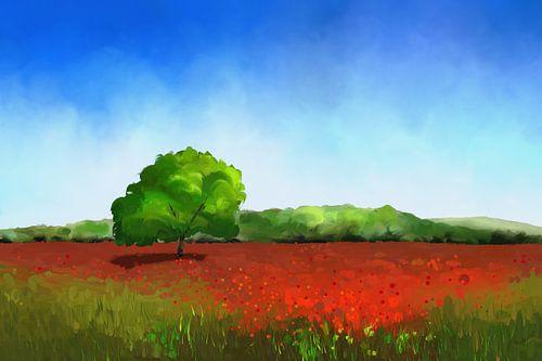 Schilderij van een grasland met rode klaprozen