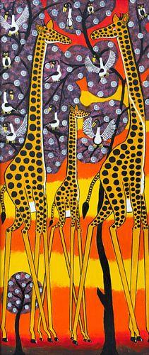 Schilderij - Giraffen in de avondgloed