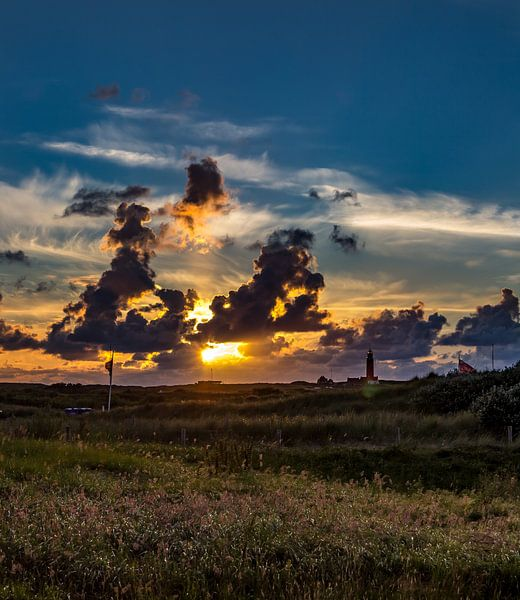 Vuurtoren Eierland Zonsondergang Texel van Texel360Fotografie Richard Heerschap