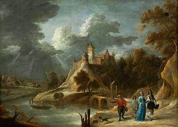 Landschaft mit einem Schloss und promenierenden Grundbesitzern, David Teniers II
