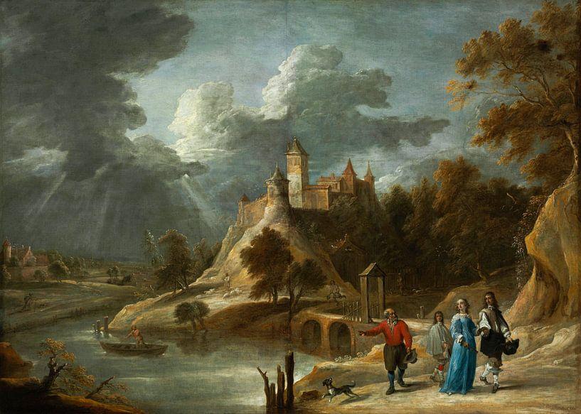 Landschaft mit einem Schloss und promenierenden Grundbesitzern, David Teniers II von Meesterlijcke Meesters