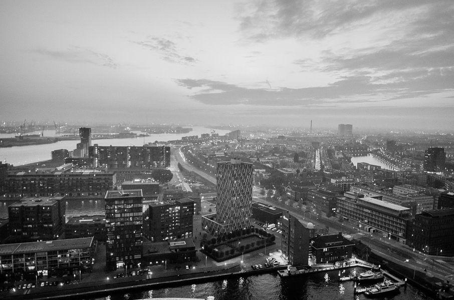 Uitzicht over de Rotterdamse haven (zwart-wit)