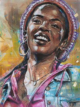 Lauryn Hill malerei von Jos Hoppenbrouwers