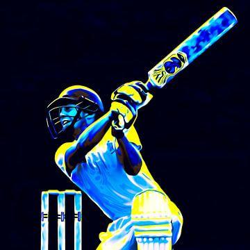 Cricket Sport Art Batter kleurrijk en vierkant van Frank van der Leer