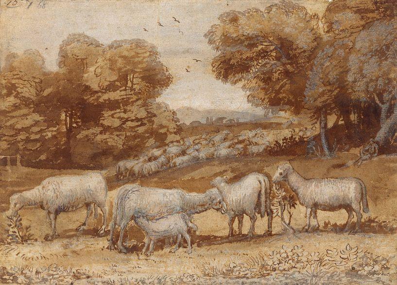Landschaft mit Schaf, Claude Lorrain von Meesterlijcke Meesters