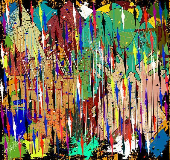 abstracte gekleurde lijn en geometrische vormen