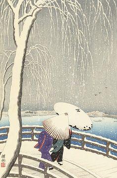 In de sneeuw op Yanagibashi van Ohara Koson