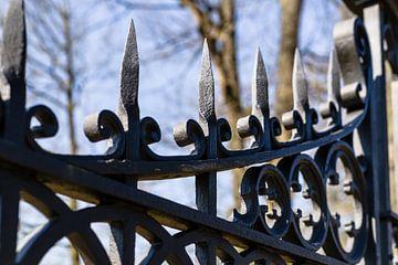 Détail d'une clôture décorative en fer sur Fotografiecor .nl