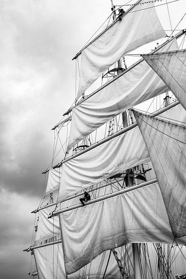 Masten van klassieke zeilboten met gehesen zeilen van Sjoerd van der Wal
