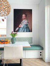 Klantfoto: Portret van een meisje in het blauw, Johannes Cornelisz. Verspronck, op print op doek