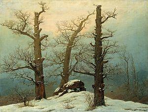 Caspar David Friedrich. Hunebed in de sneeuw