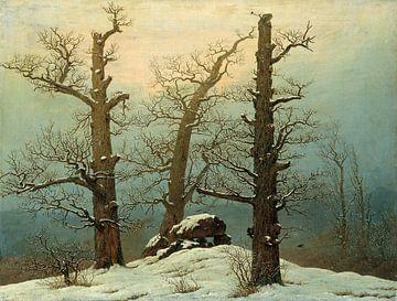 Caspar David Friedrich. Hunebed in de sneeuw van