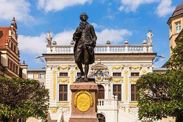 Naschmarkt met het Goethe-monument in Leipzig van Werner Dieterich