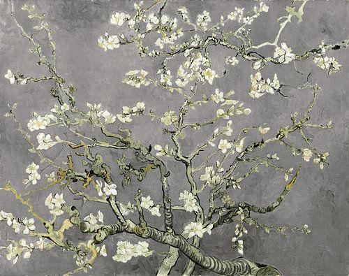 Amandelbloesem van Vincent van Gogh (licht grijs) van