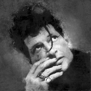 Olieverf portret van Herman Brood (zwart wit) van Bert Hooijer