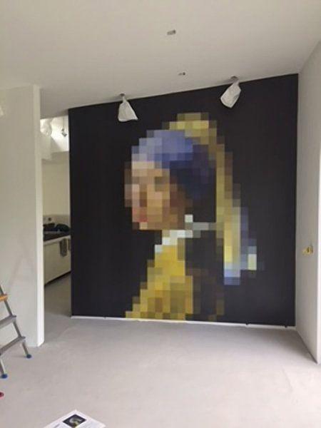 Klantfoto: Pixel Art: Het meisje met de parel  van J. C. Delanaye