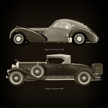 Bugatti 57-SC Atlantic 1938 en Cadillac V16 Roadster 1930 van Jan Keteleer
