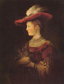 Saskia en profil in rijk gewaad - Rembrandt sur Het Archief