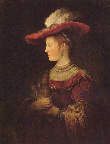 Saskia en profil in rijk gewaad - Rembrandt von Het Archief