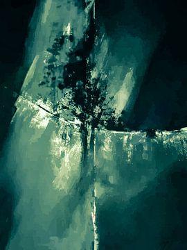 Modernes, abstraktes digitales Kunstwerk in Grün-Blau von Art By Dominic