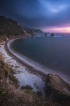 Asturias Playa de Silencio Plage Coucher de soleil couchant sur Jean Claude Castor