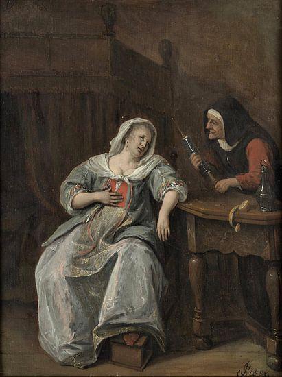 Jan Steen. De zieke vrouw van 1000 Schilderijen