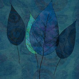 Leaves in blue and green van annemiek groenhout