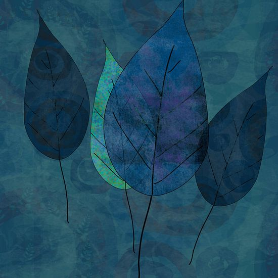 Leaves in blue and green
