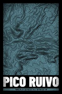Pico Ruivo | Kaart Topografie (Grunge)