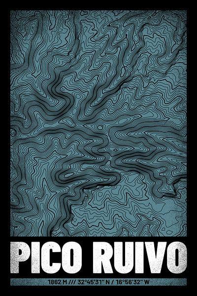 Pico Ruivo | Kaart Topografie (Grunge) van ViaMapia