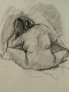 Weiblicher Akt, Aktstudie 3, Kohlezeichnung, Rubens Frau von Paul Nieuwendijk