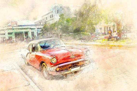 Cuba rode oldtimer van Arjen Roos