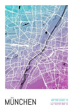 München – City Map Design Stadtplan Karte (Farbverlauf) von City Maps