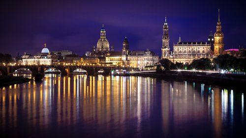 Elbe in Dresden, tijdens de nacht