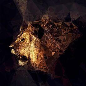 Golden Lion -Low Poly Effect van Dirk Wüstenhagen