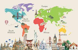 Wereldkaart met beroemde plaatsen