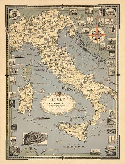 Italië, met Vaticaanstad van World Maps