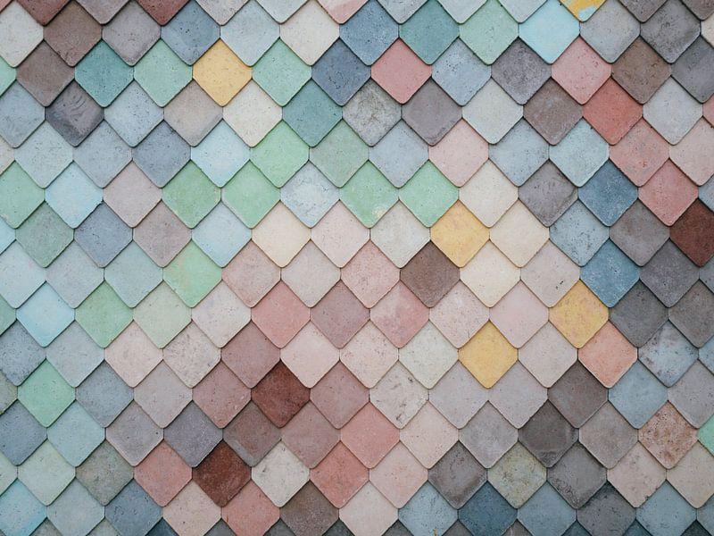 Mosaikmuster von farbigen Formen von Origami Art