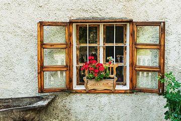 Wooden window with flower box and red geraniums van Gunter Kirsch