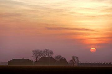 Zonsondergang Westmaas van Roel Dijkstra