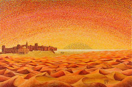 Schilderij Sahara woestijn fantasy met Kasbah van Ton van Breukelen