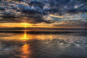 Zonsondergang HDR Kust Zee De Panne van