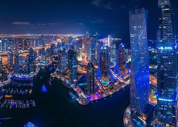 Panorama de nuit de la marina de Dubaï Skyline sur Jean Claude Castor