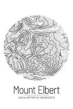 Mount Elbert | Kaart Topografie (Minimaal) van ViaMapia