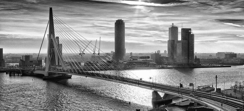 Rotterdam Skyline in the morning (Zwartwit) van Rob van der Teen
