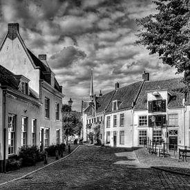 Hawk et Krommestraat Amersfoort historique noir et blanc sur Watze D. de Haan