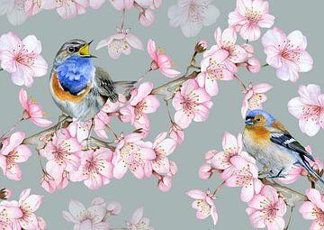 Vogels bloesemtakken van Geertje Burgers