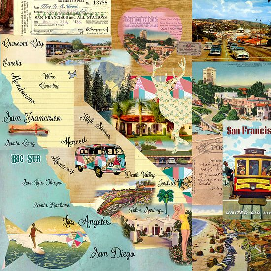 California Collage van Green Nest
