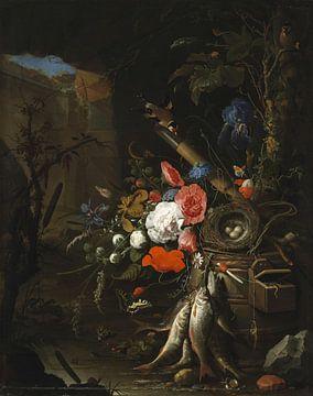Stilleven in een Grot met bloemen, vissen en een vogelnest, Abraham Mignon