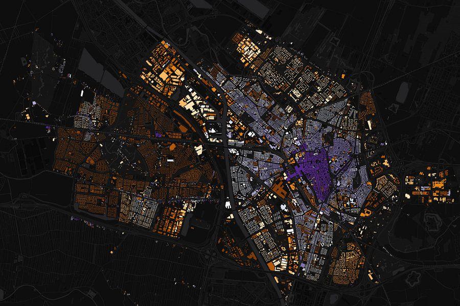 Kaart van Utrecht abstract van Stef Verdonk